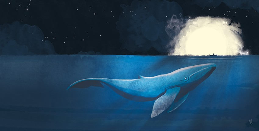 Blue whale and the boat par Marine