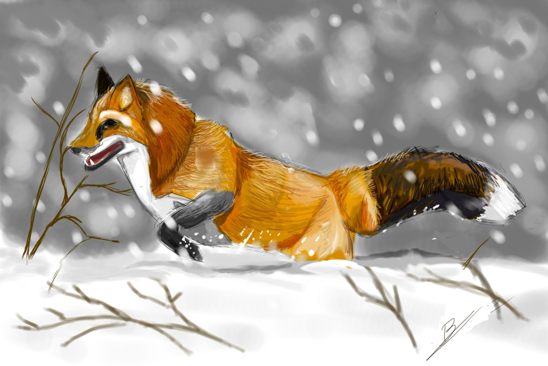 Fox in the snow par BanetteSan