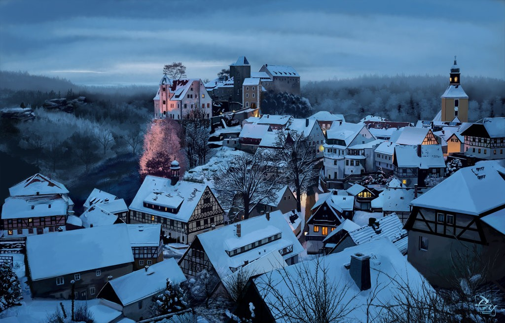 snowy_village_by_t_ry-d6aw7zh par T-ry