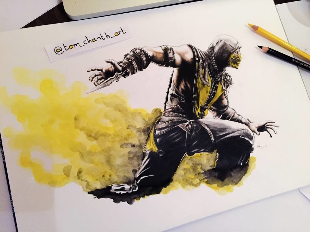 Scorpion - Color Pencils & Watercolor par Tom Chanth