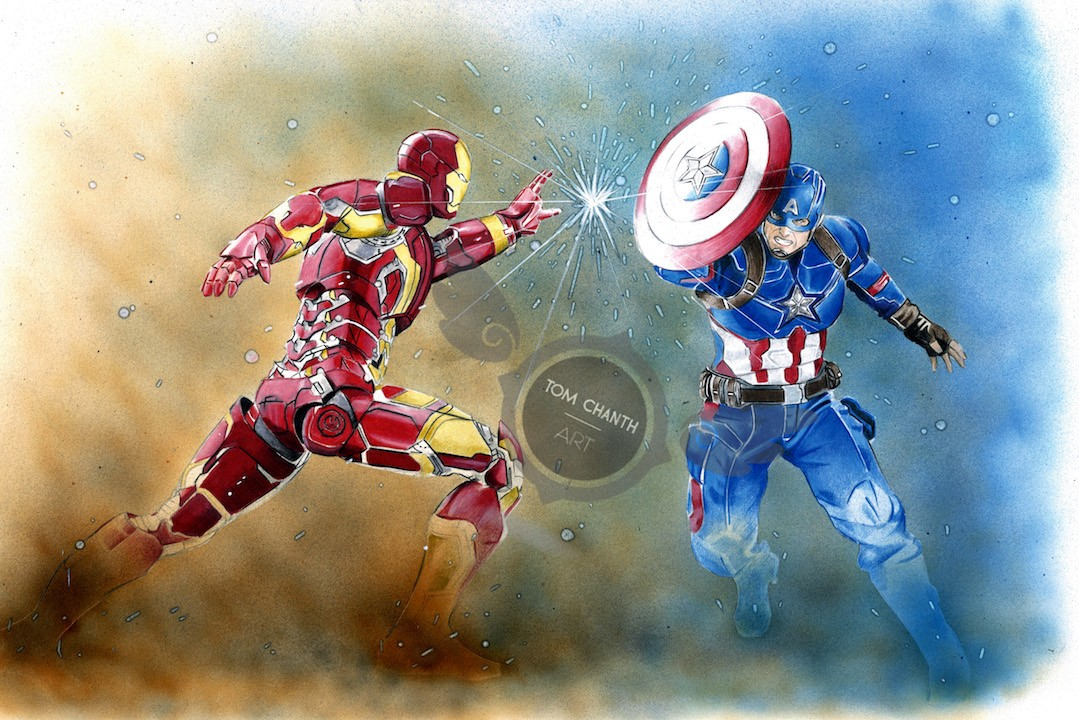 Civil War - Color pencils, markers & airbrush par Tom Chanth