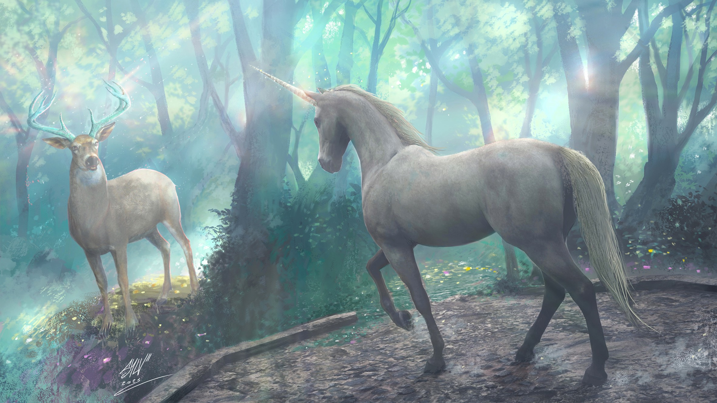 The stag  and the unicorn par SYLV le POOLP