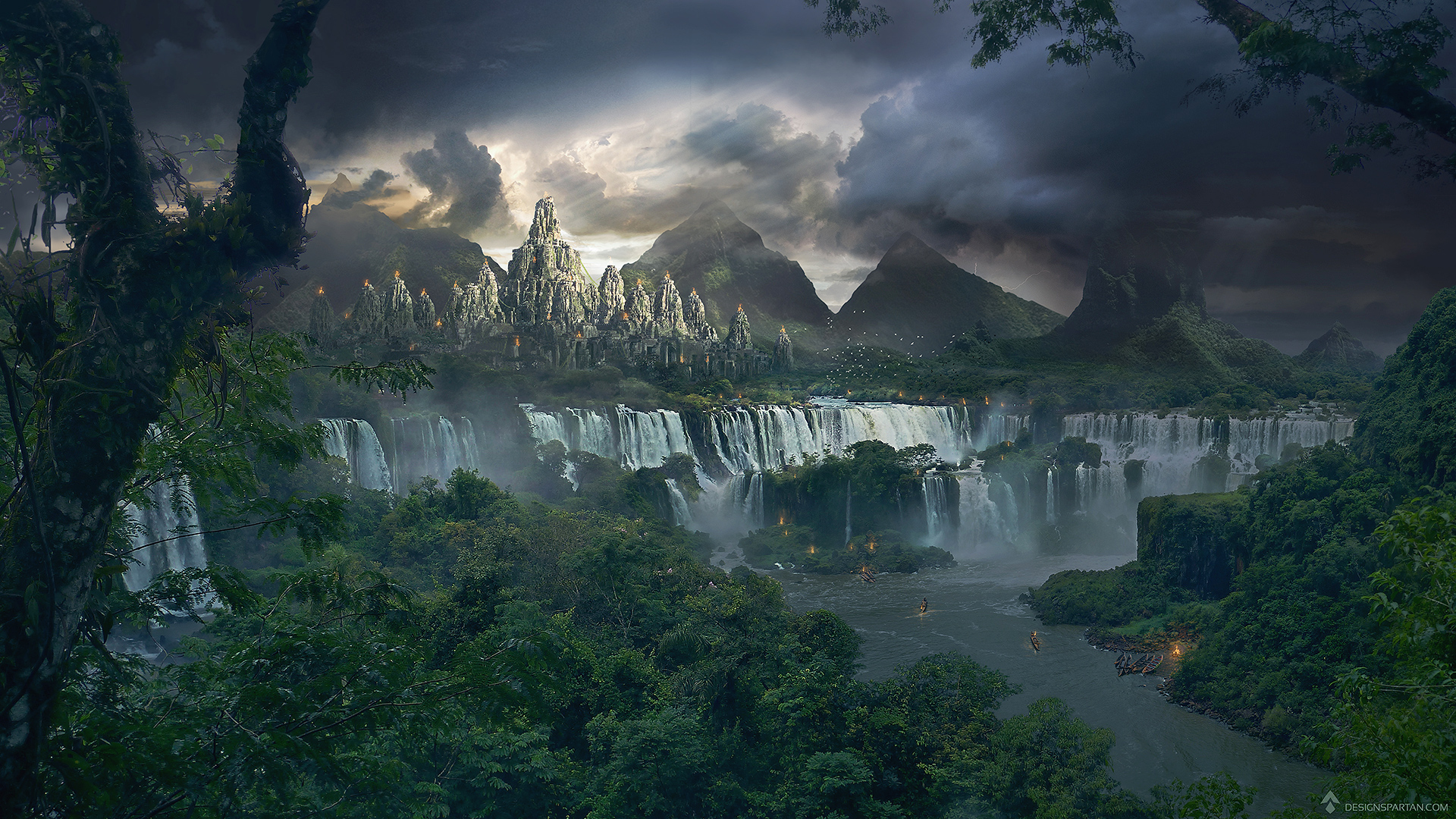"Tutoriel de matte painting : ""Le temple perdu"""