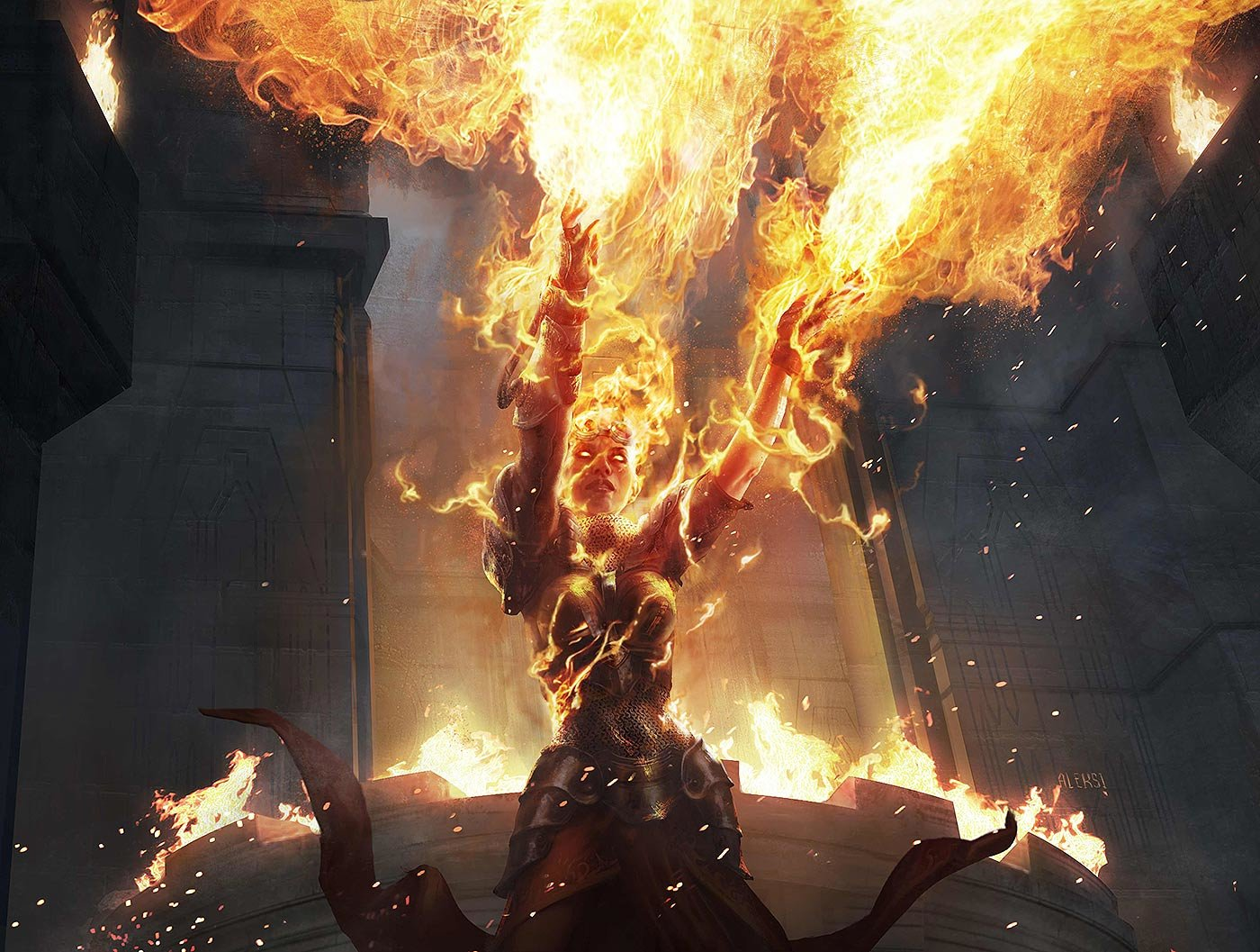 Aleksi Briclot Chandra Ravaging Blaze Illustration for Magic The Gathering