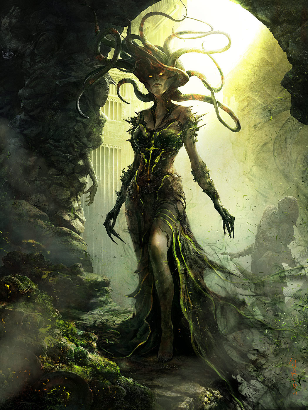 Aleksi Briclot Vraska illustration for Return to Ravnica Magic The Gathering