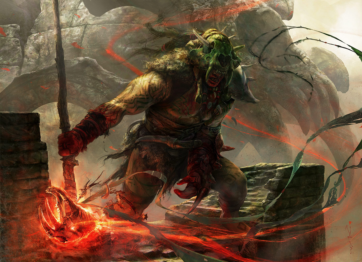 Aleksi Briclot Skarrg Guildmage Card illustration for Return to Ravnica Magic The Gathering