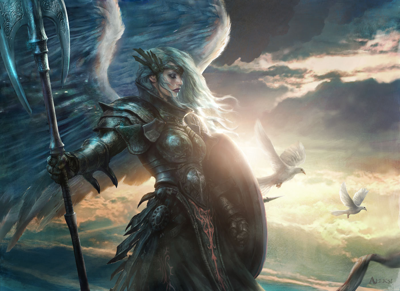 Aleksi Briclot Aegis Angel Card illustration for Magic The Gathering