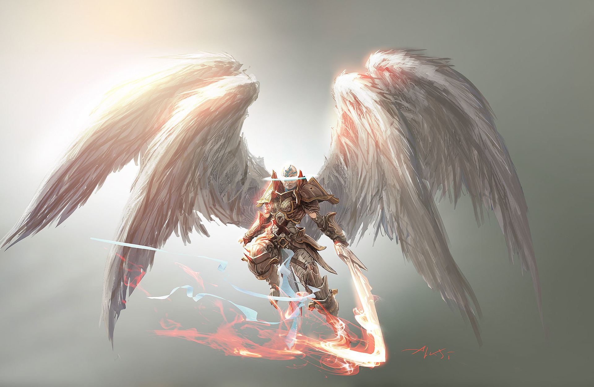 Aleksi Briclot Angel concept art for Magic The Gathering Battle for Zendikar