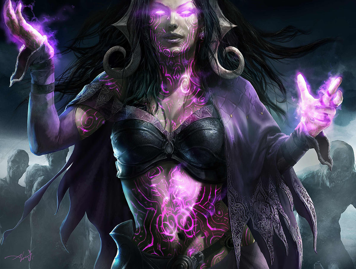 Aleksi Briclot Liliana's OriginIllustration for Magic The Gathering Origins