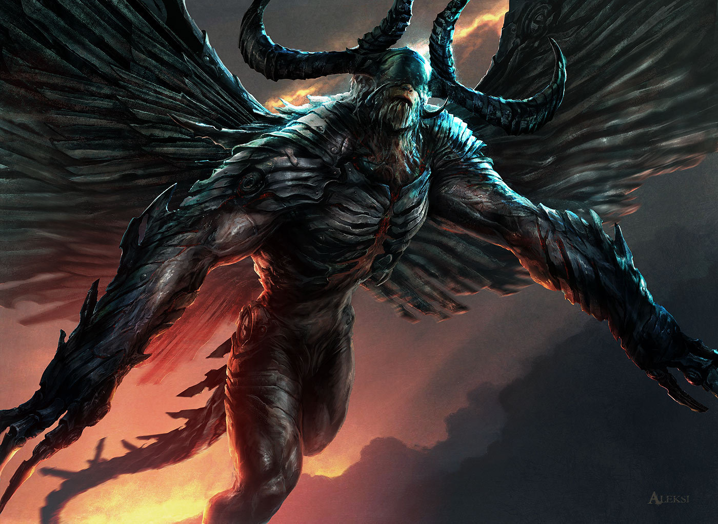 Aleksi Briclot Phyrexian Demon Card illustration for Magic The Gathering