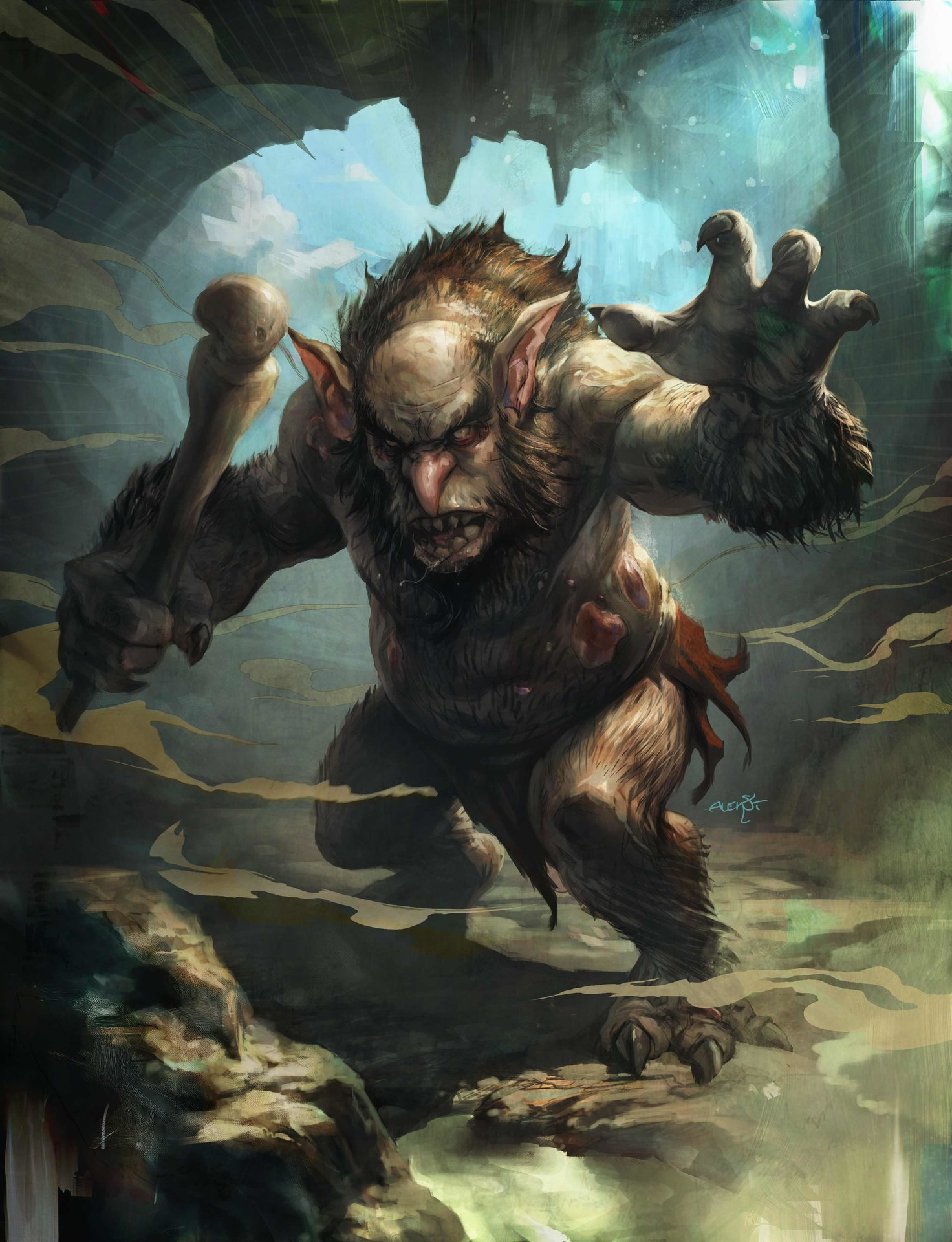 Aleksi Briclot illustration Blizzard Hearthstone Burly Rockjaw Trogg