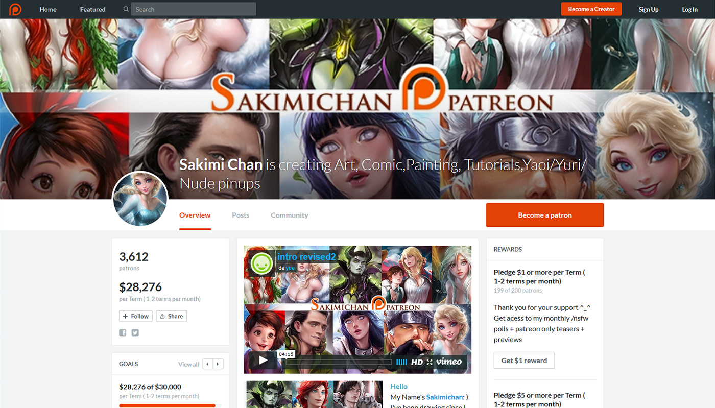 Patreon de Sakimichan, illustratrice