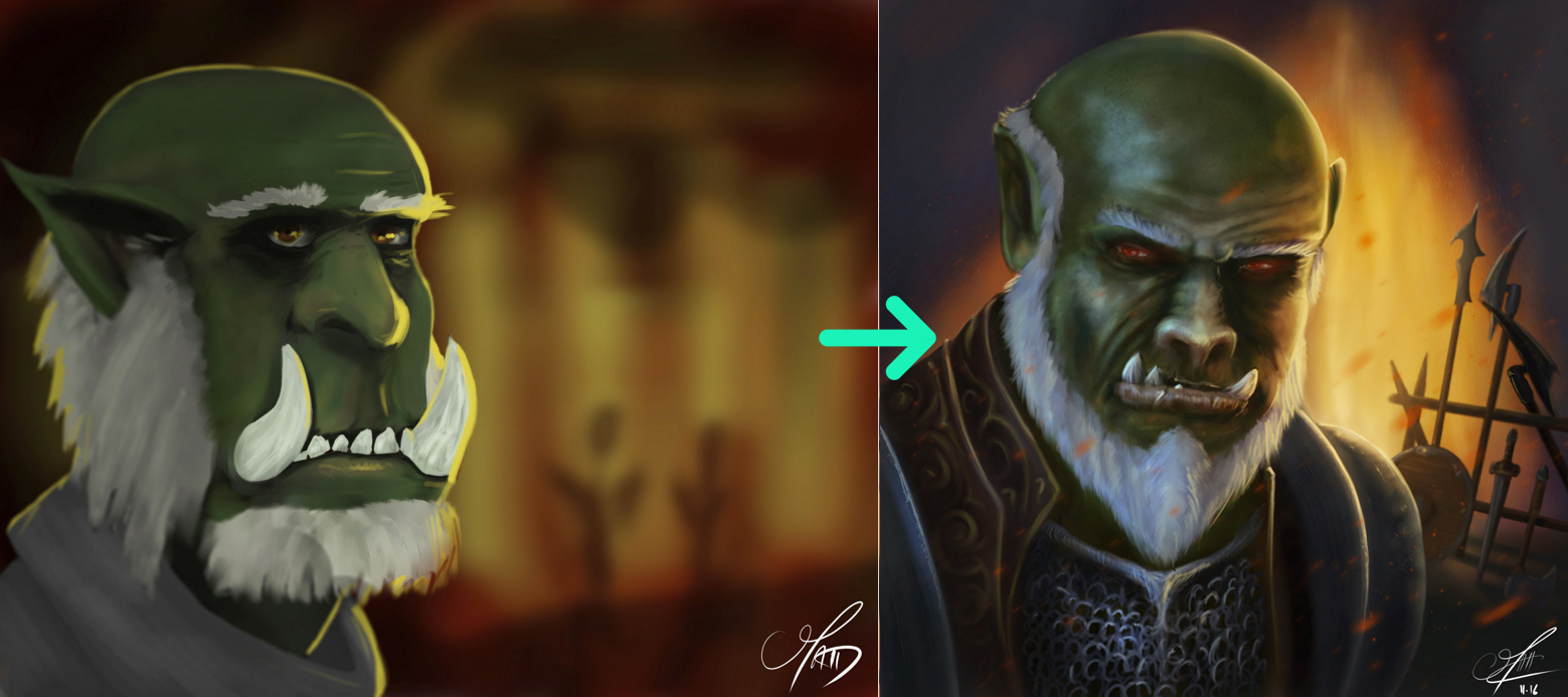 Progression en digital painting de mcoudert
