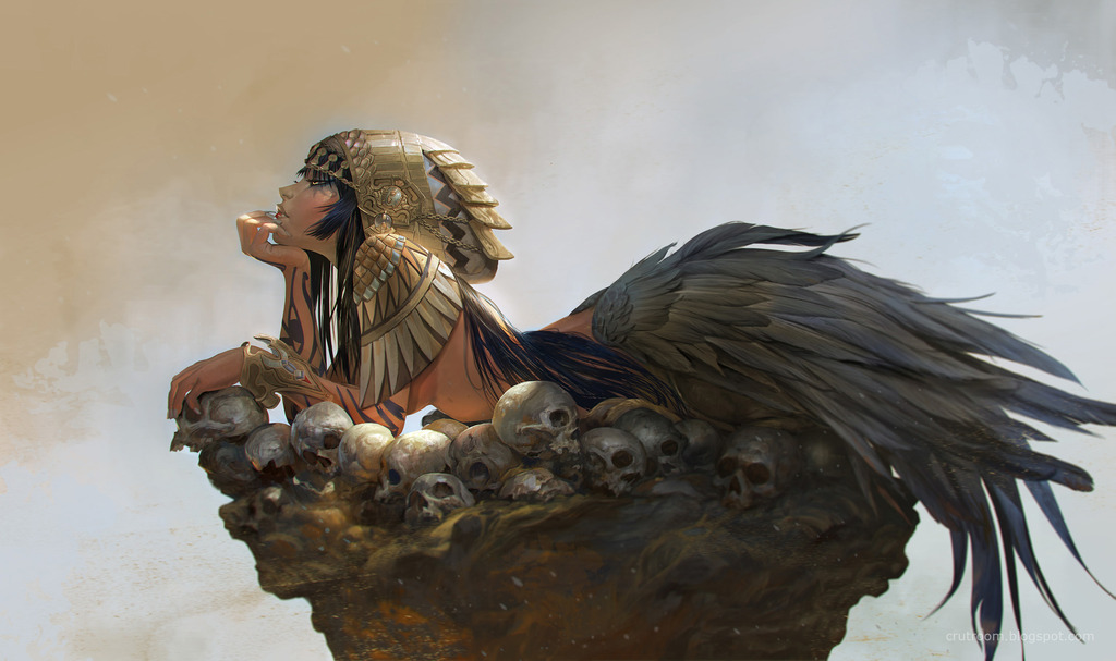 rudy siswanto digital painting Sphinx girl