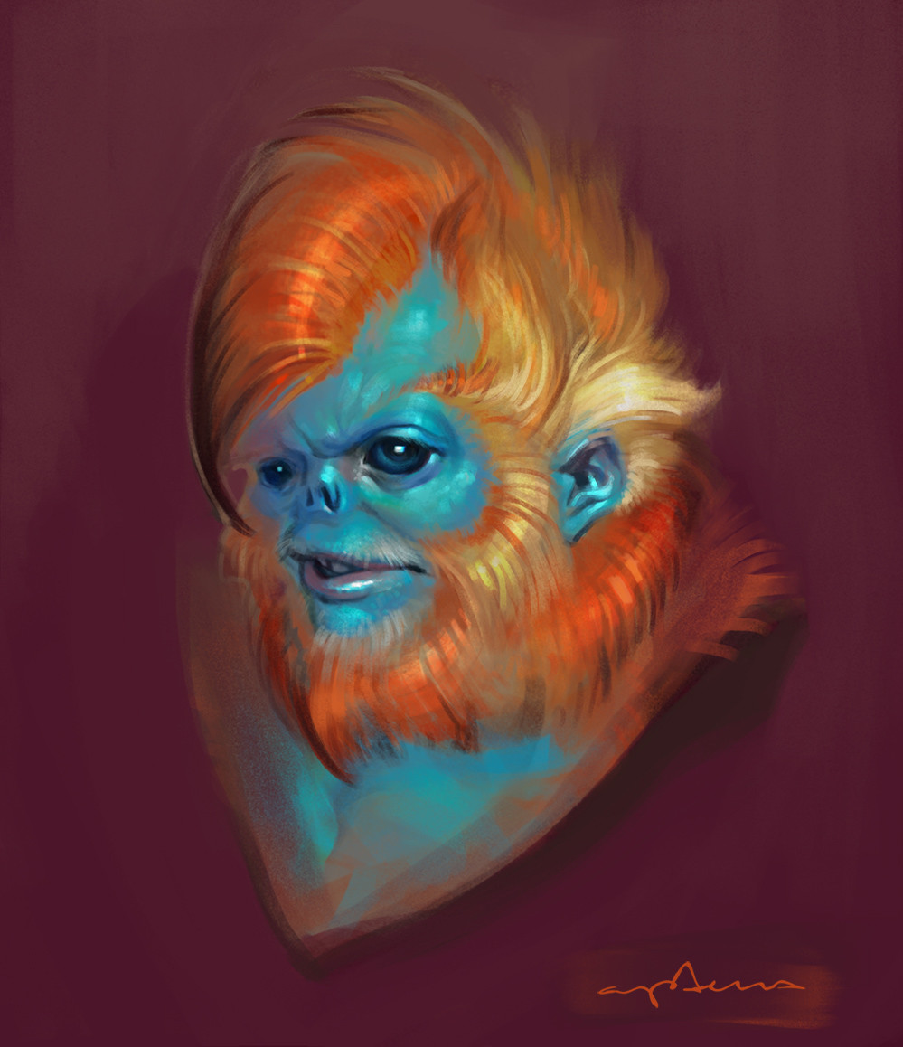 Sabbas Apterus illustration Annoyed Snub-nosed Monkey Man