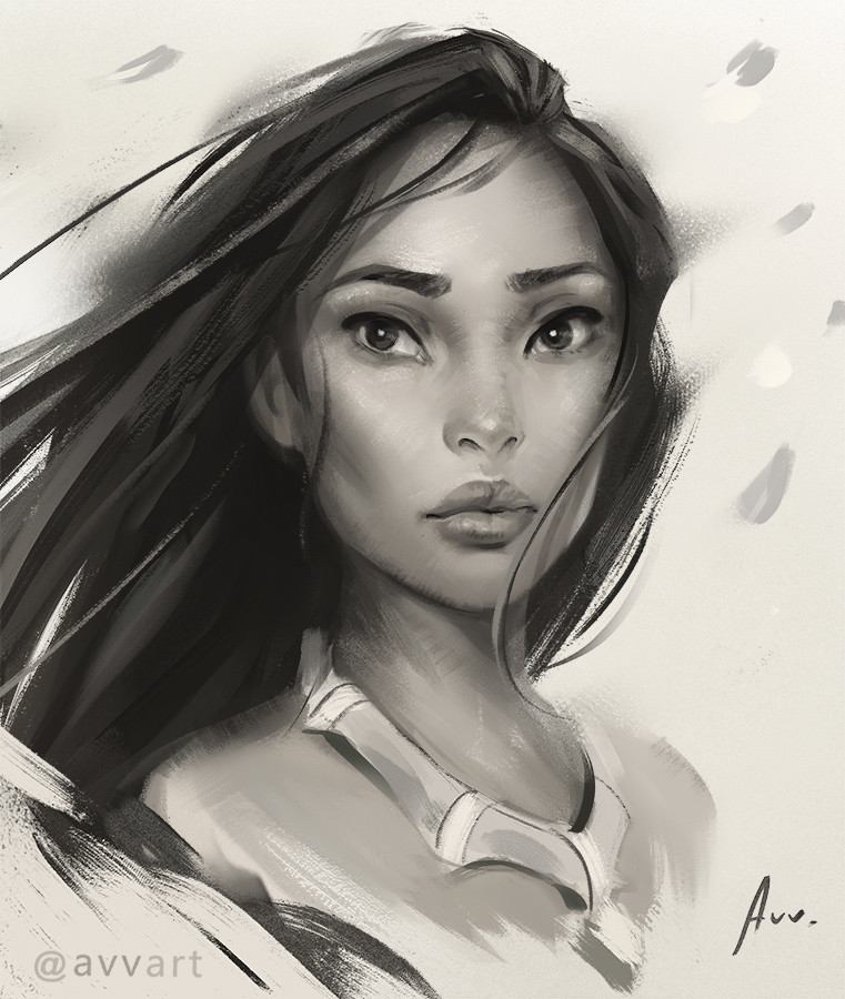 Aleksei Vinogradov Illustration Portrait Pocahontas
