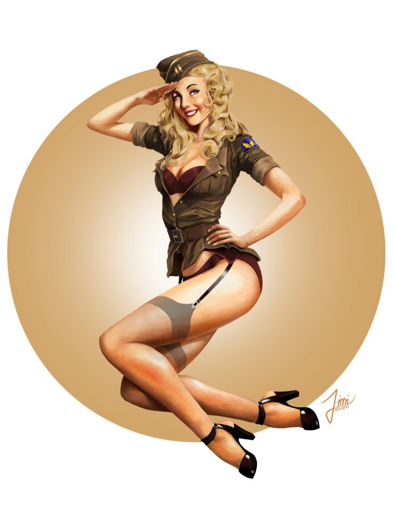 world war II style pin up poster