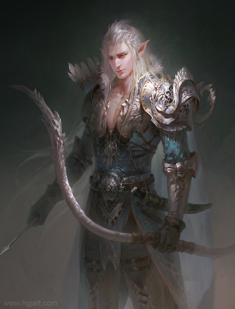 guangjian huang digital painting Elf Archer