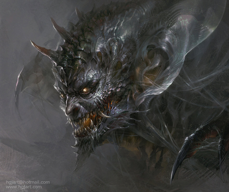 guangjian huang digital painting Monster head