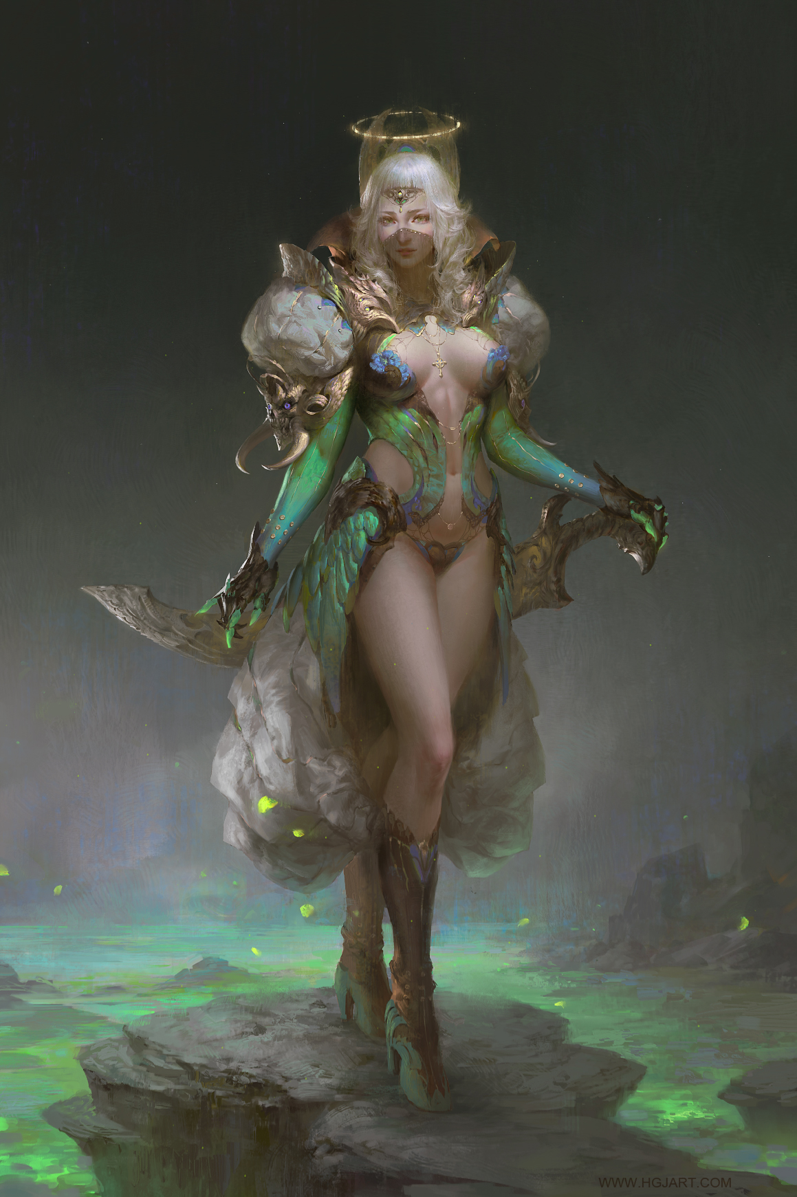 guangjian huang digital painting green lady