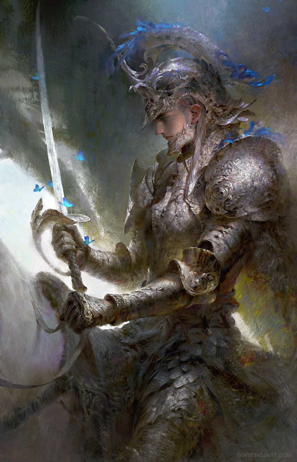 guangjian huang digital painting Silver Knight