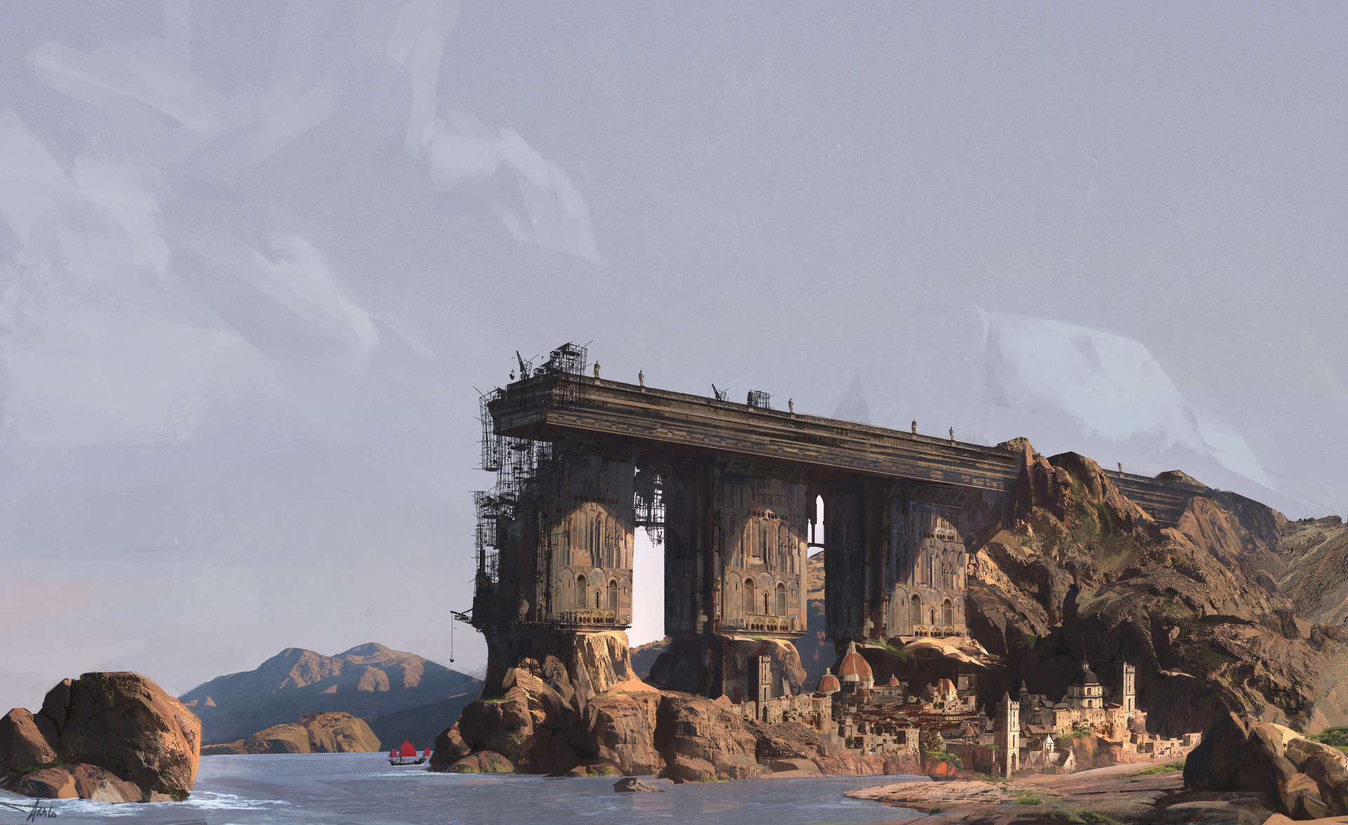 Pablo dominguez Digital painting concept art matte painting Bridge