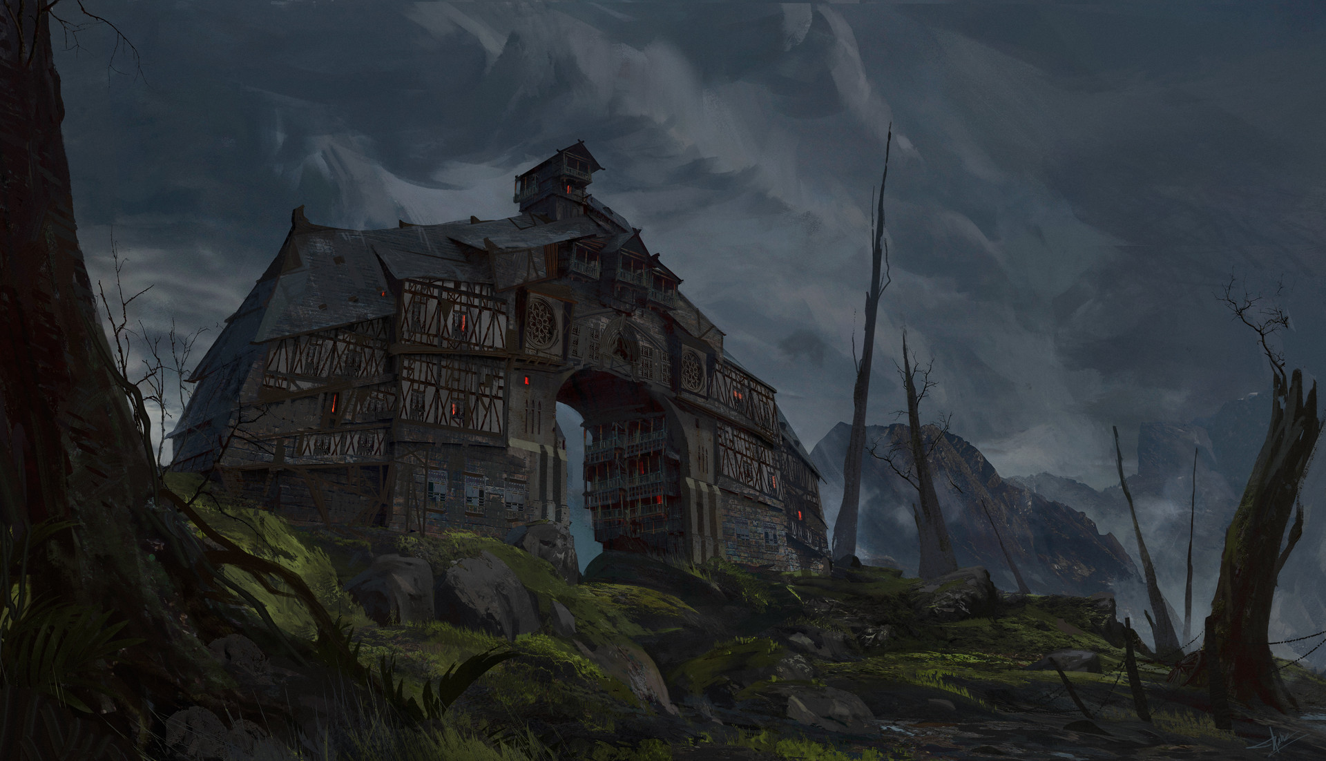 pablo dominguez digital painting medevial village concept art