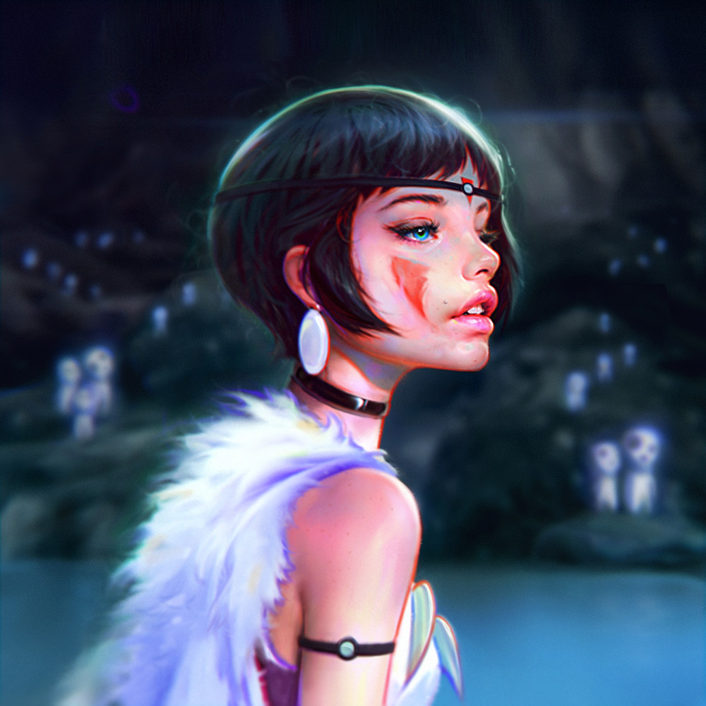 irakli nadar digital painting Portrait Princess Mononoke