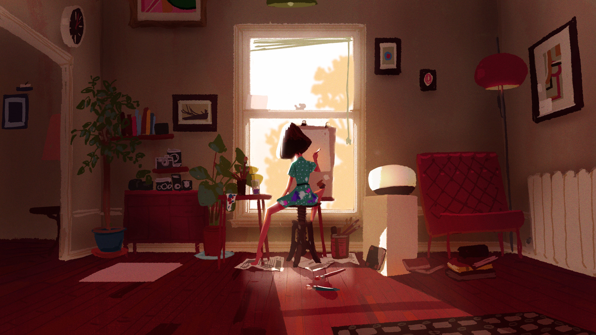 mike redman digital painting illustration Living Room Studio Morning