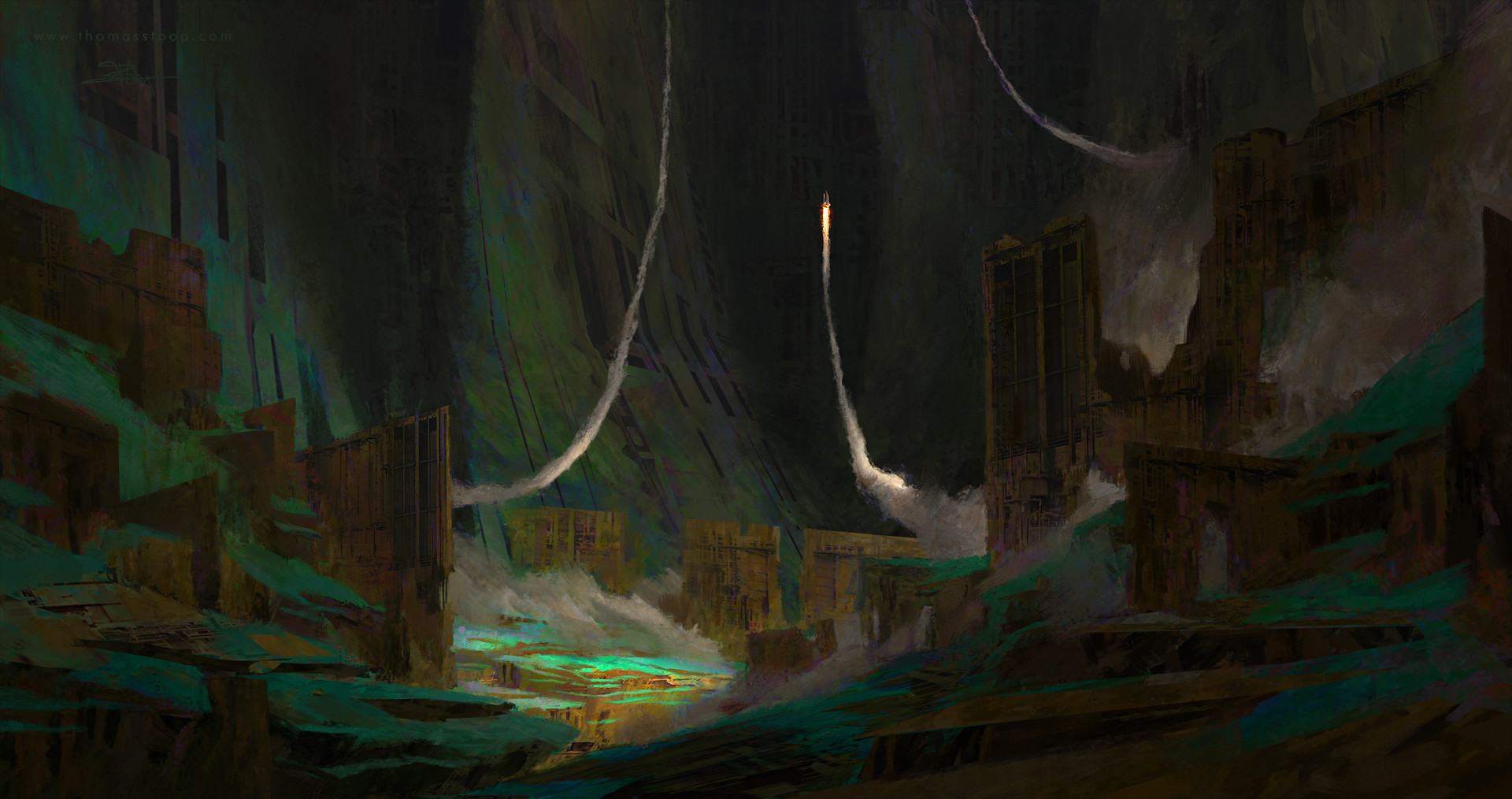 Thomas Stoop Concept Art landscape Evacuation