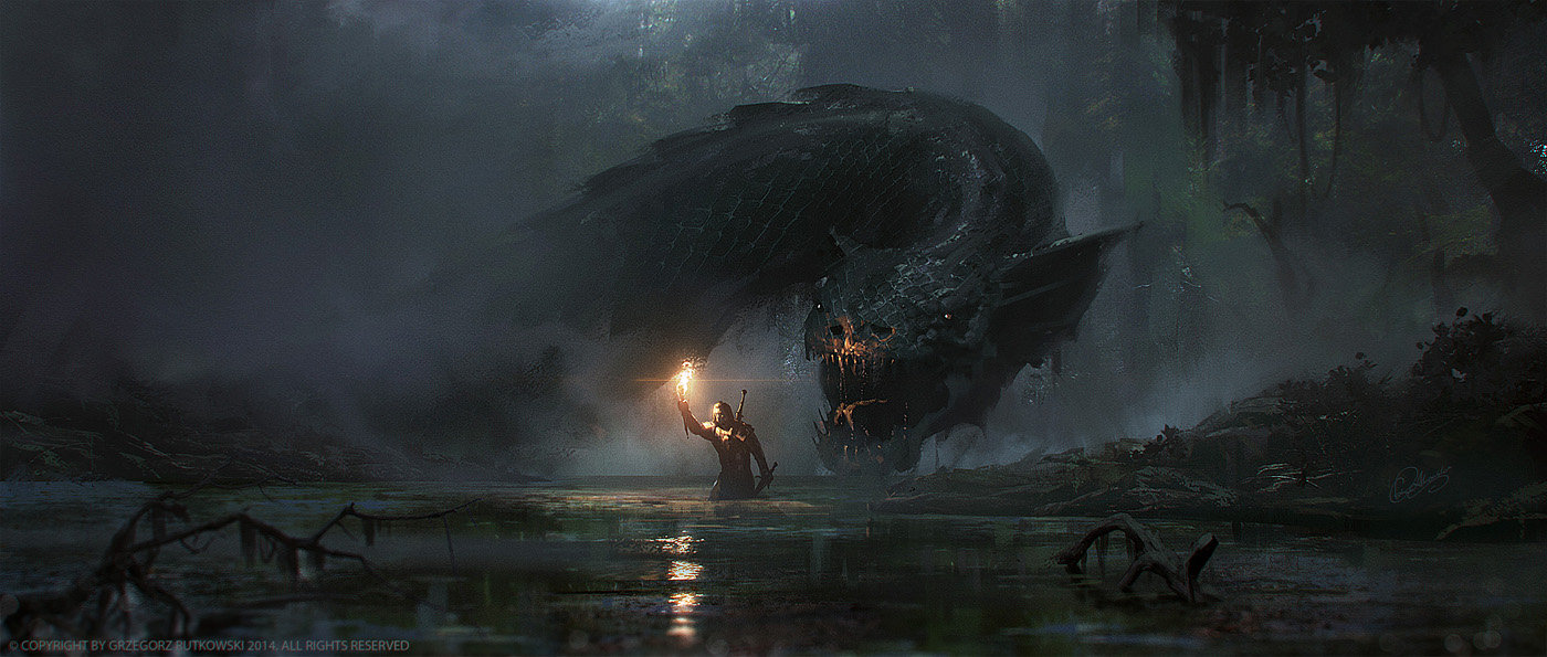 Grzegorz Rutkowski Digital Painting Illustration Dragon Swamp Ambush