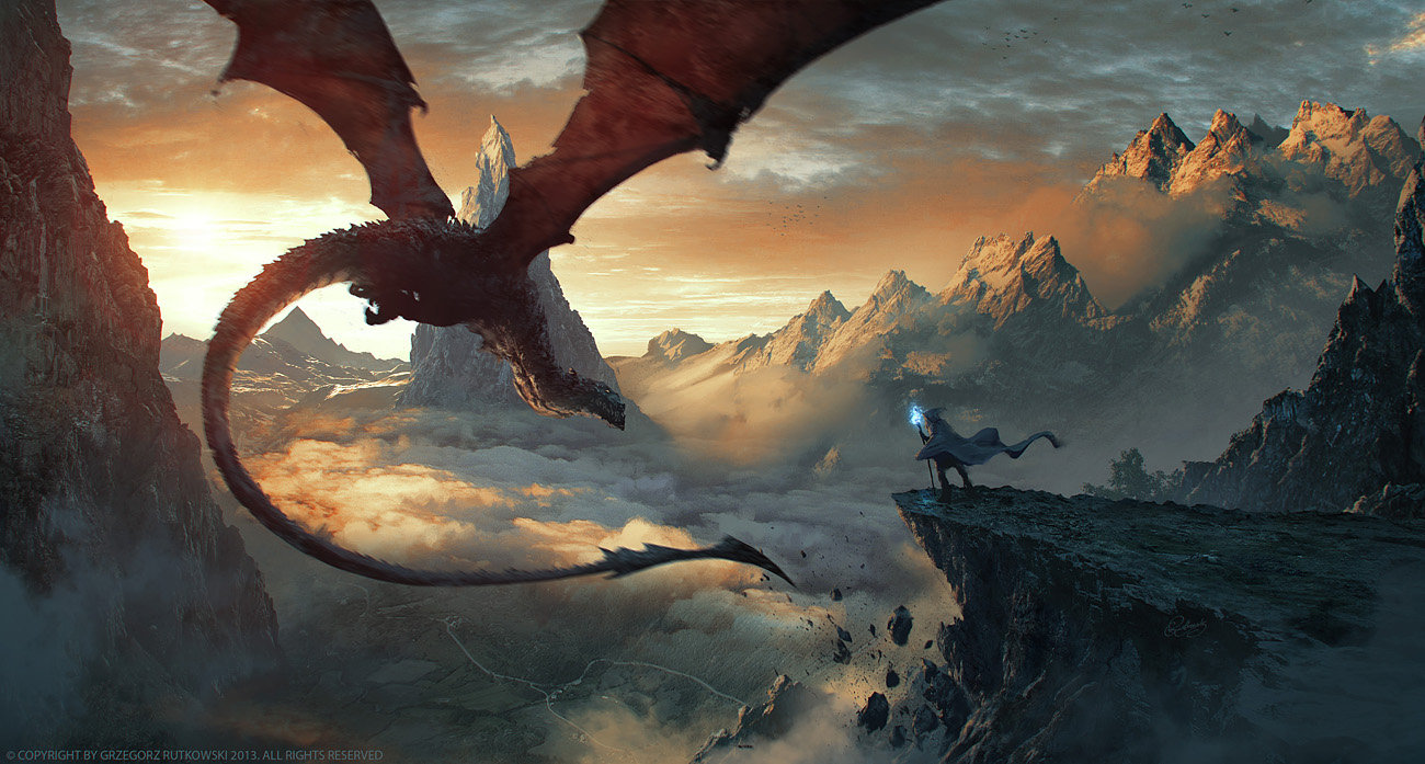 Grzegorz Rutkowski Digital Painting Illustration Dragon farewell