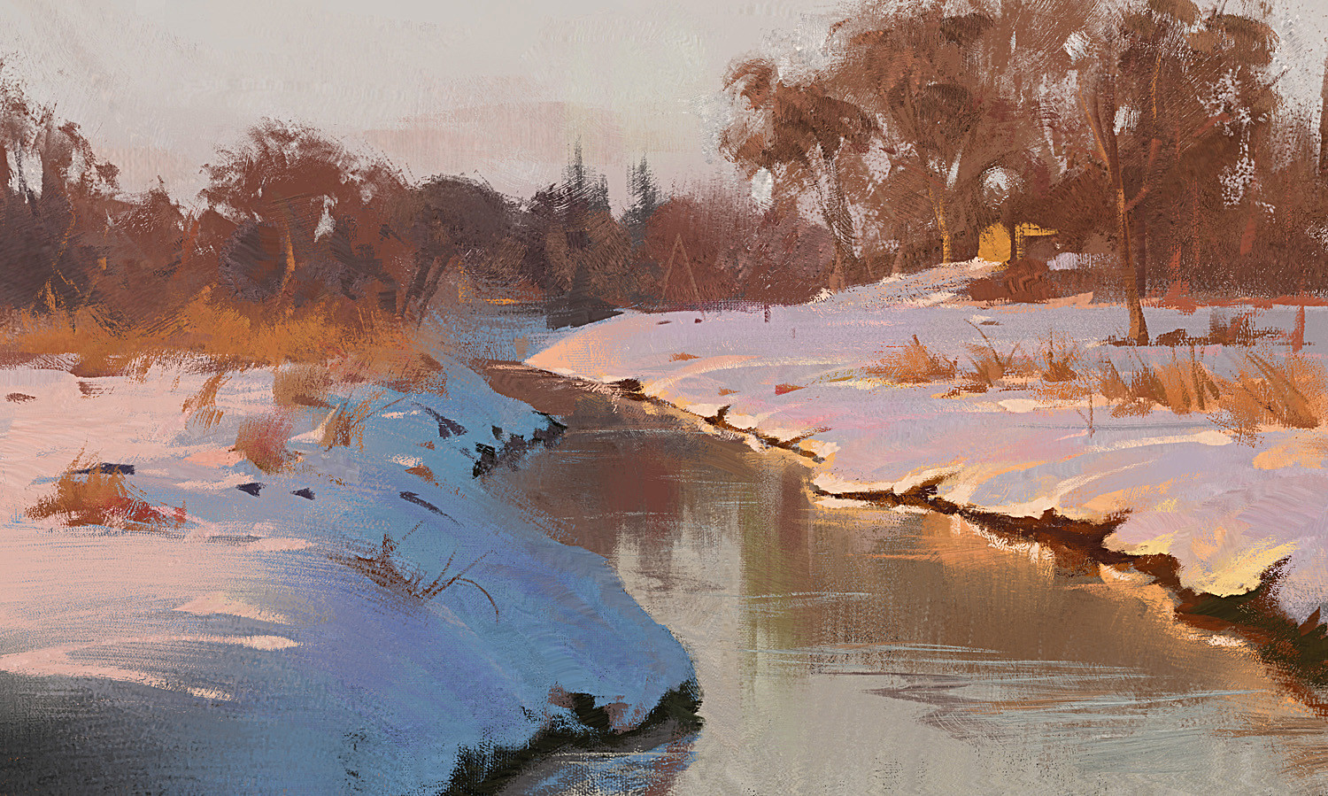 Grzegorz Rutkowski Digital Painting Illustration winter snow sunset