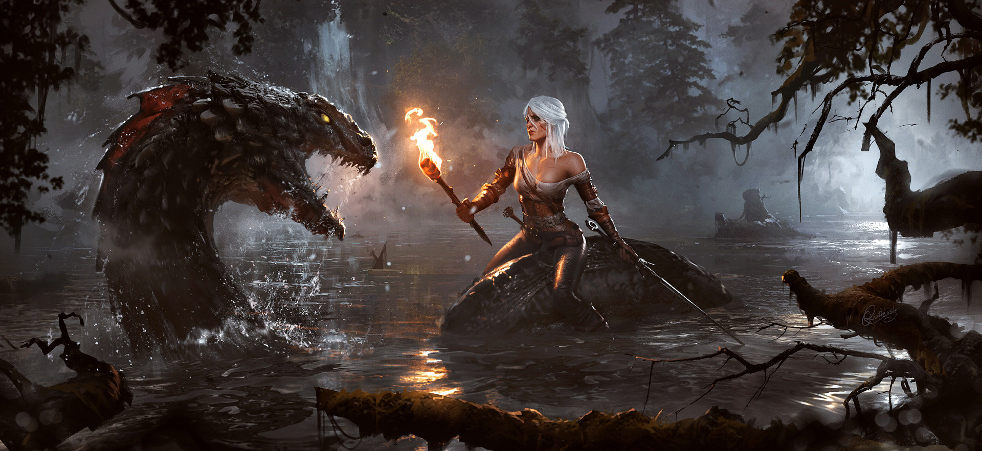 Grzegorz Rutkowski Digital Painting Illustration The Witcher III Through The Marshes