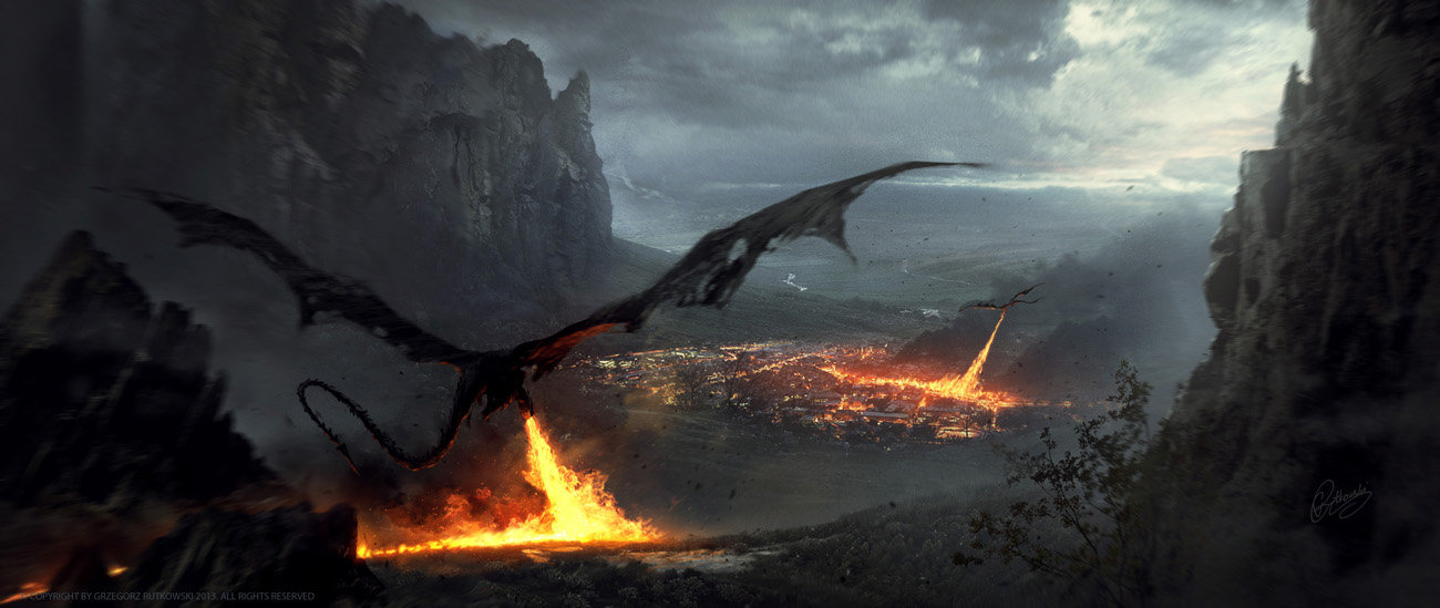 Grzegorz Rutkowski Digital Painting Illustration Dragons Fire