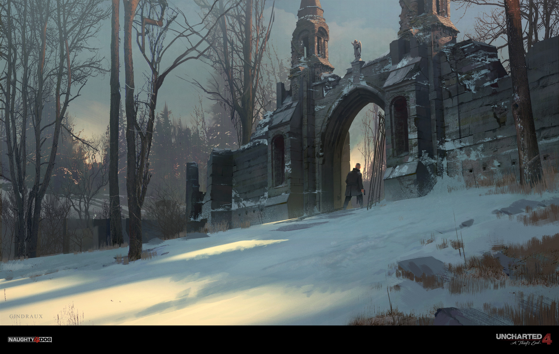Nick Gindraux Digital Painting Concept Art Uncharted 4 Snow Scotland Gate