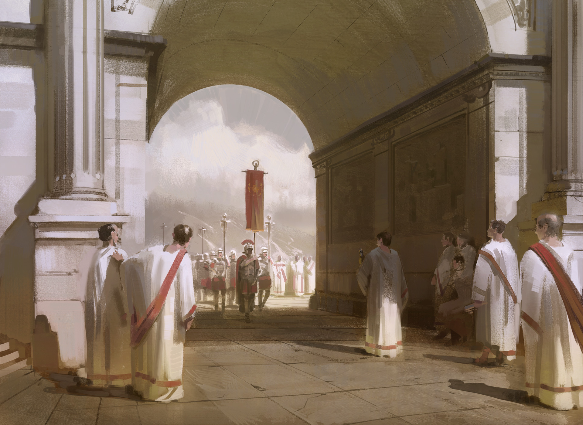 Nick Gindraux Digital Painting Sketch Roman Entrance