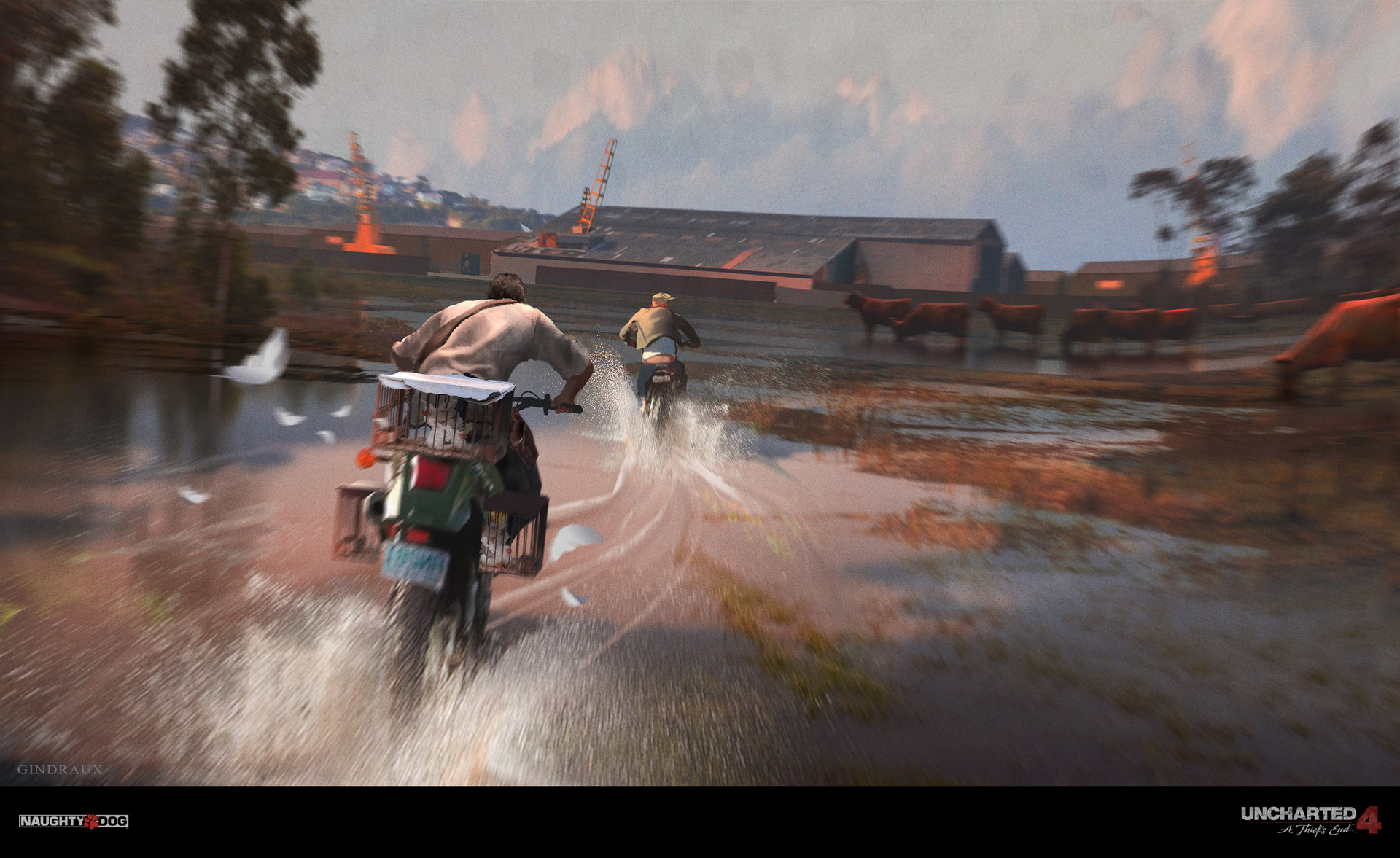 Nick Gindraux Digital Painting Concept art Uncharted 4 Motocycle Chase