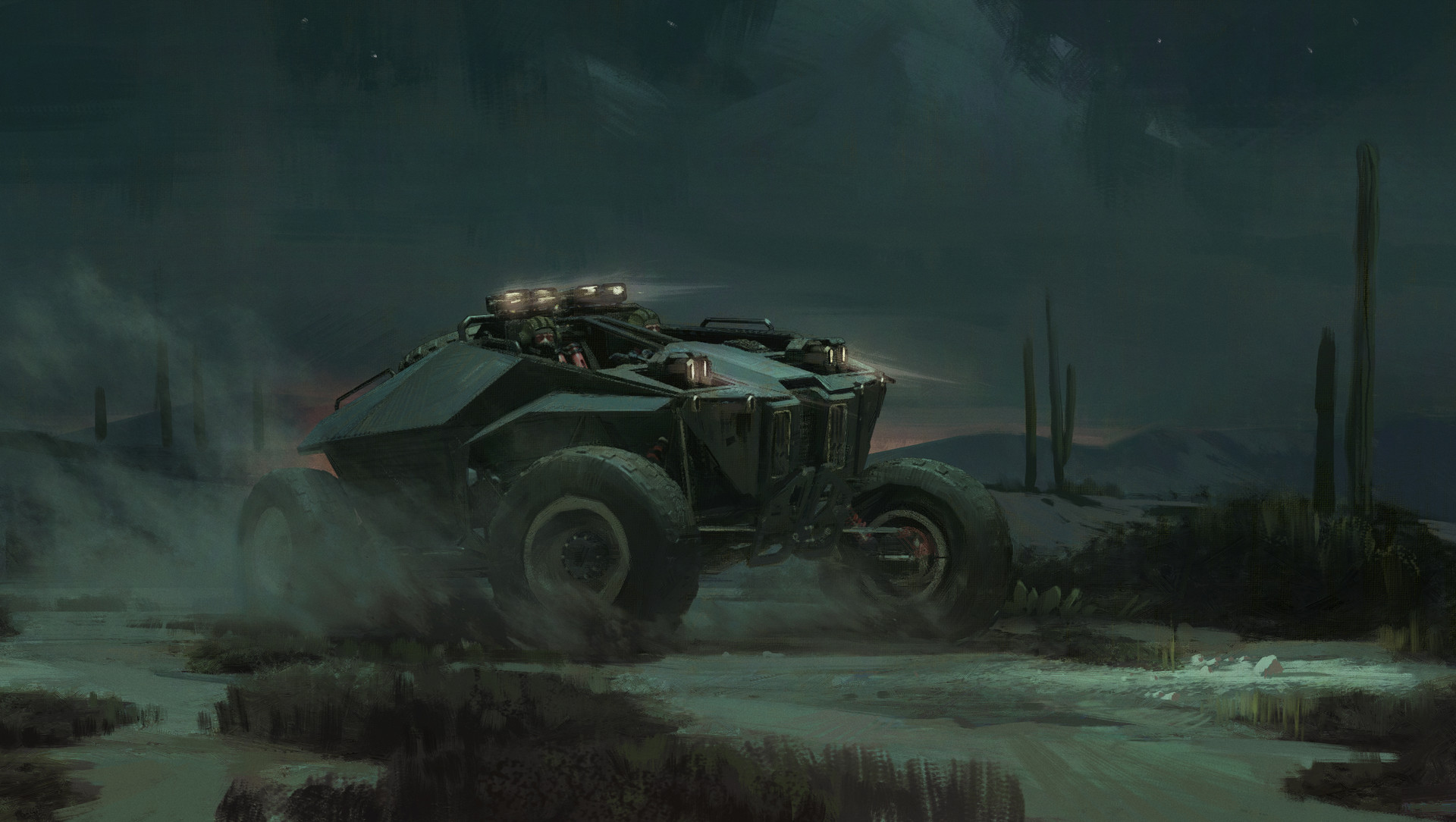 Nick Gindraux Digital Painting Concept art Uncharted 4 Desert Buggy