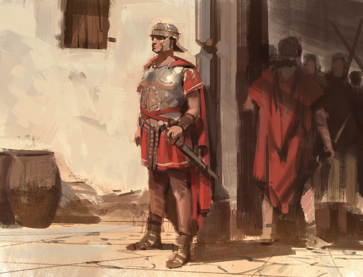 Nick Gindraux Digital Painting Sketch Roman Guard