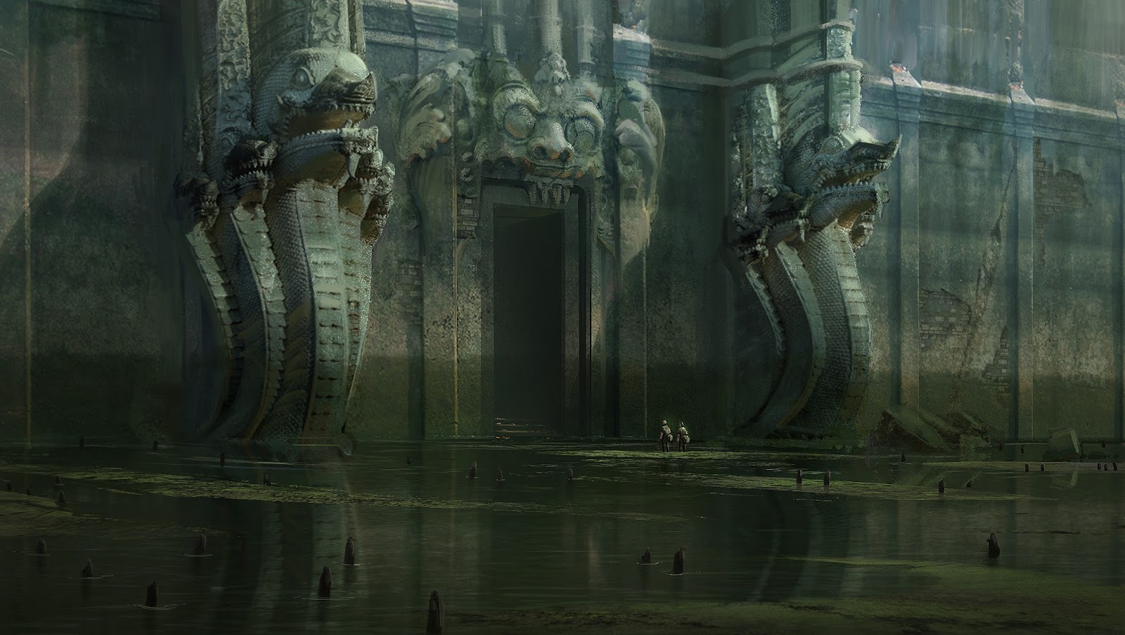 Nick Gindraux Digital Painting Concept art Temple in the Marshes