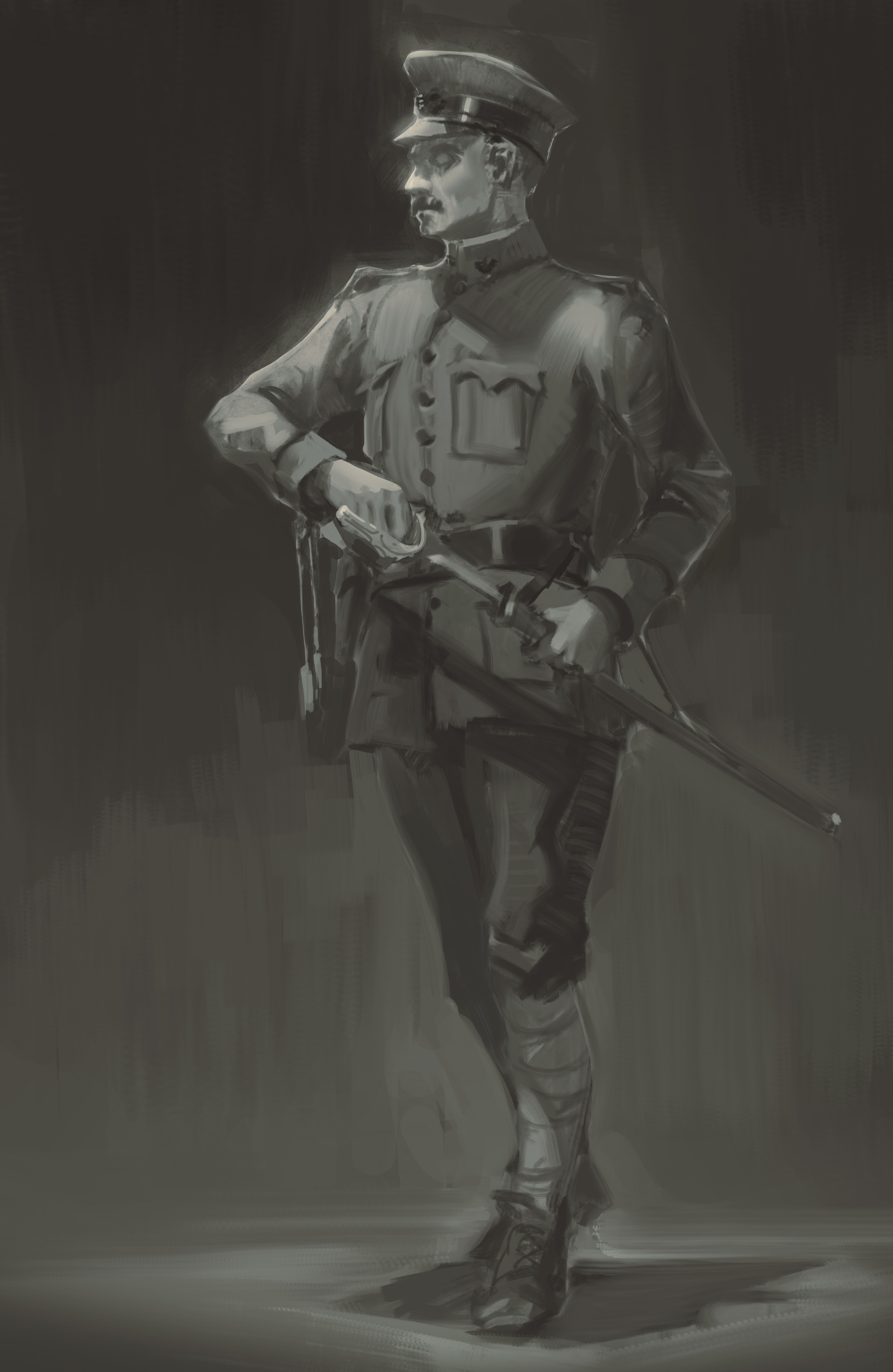 Nick Gindraux Digital Painting Sketch American Officer 1918