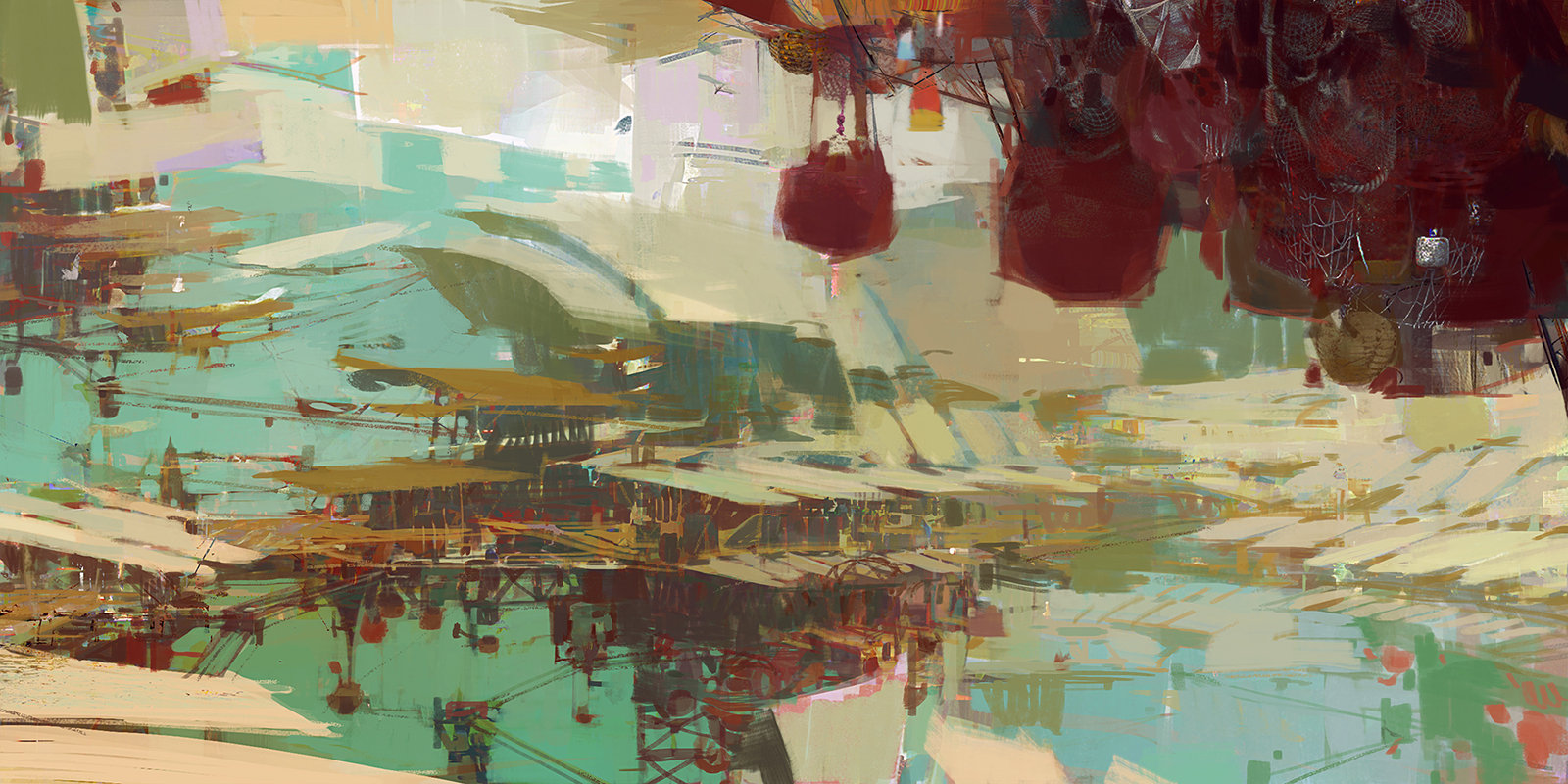 theo prins digital painting concept art guild wars 2 Kite City 3