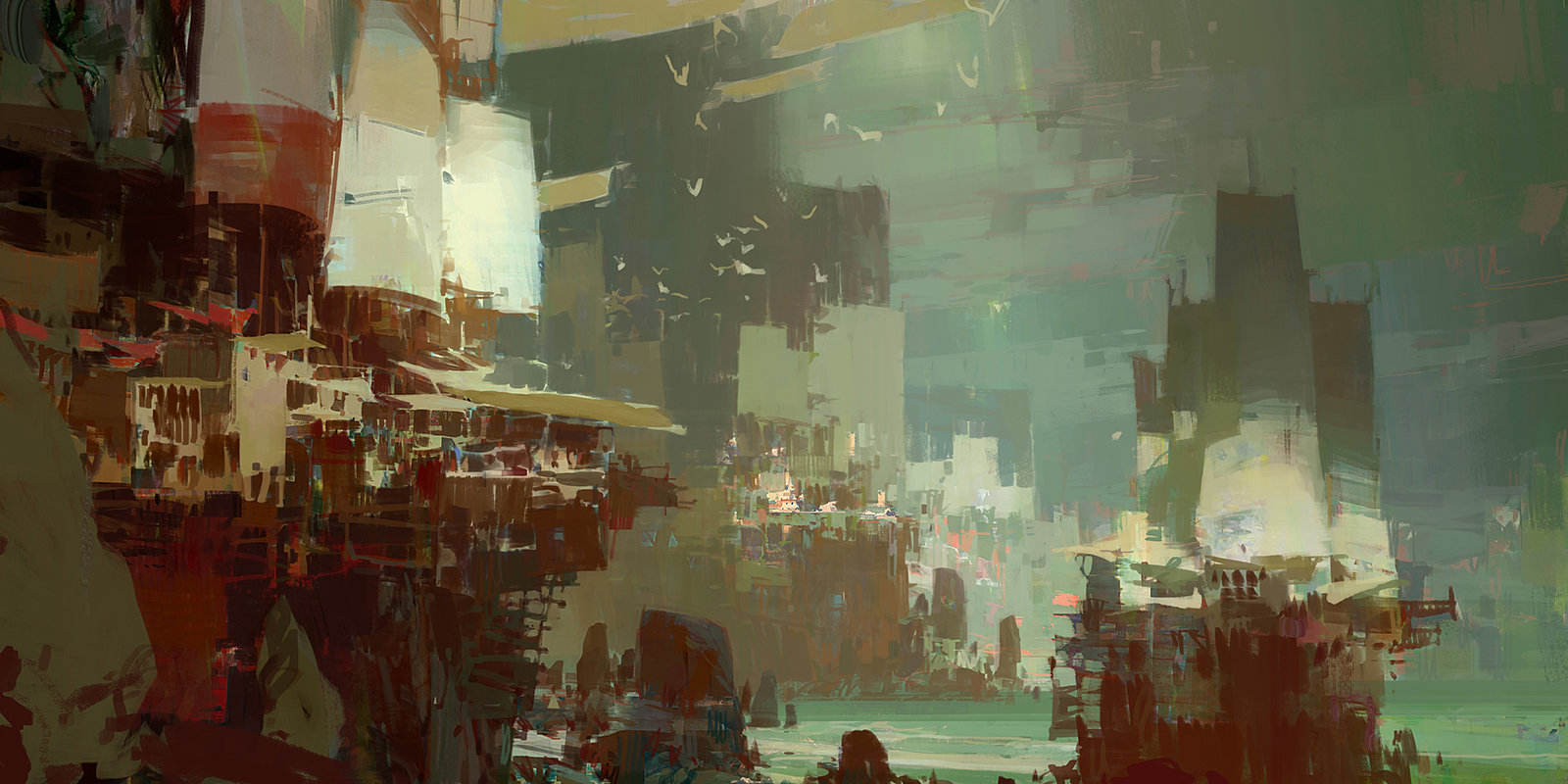 theo prins digital painting concept art guild wars 2 Kite City 4