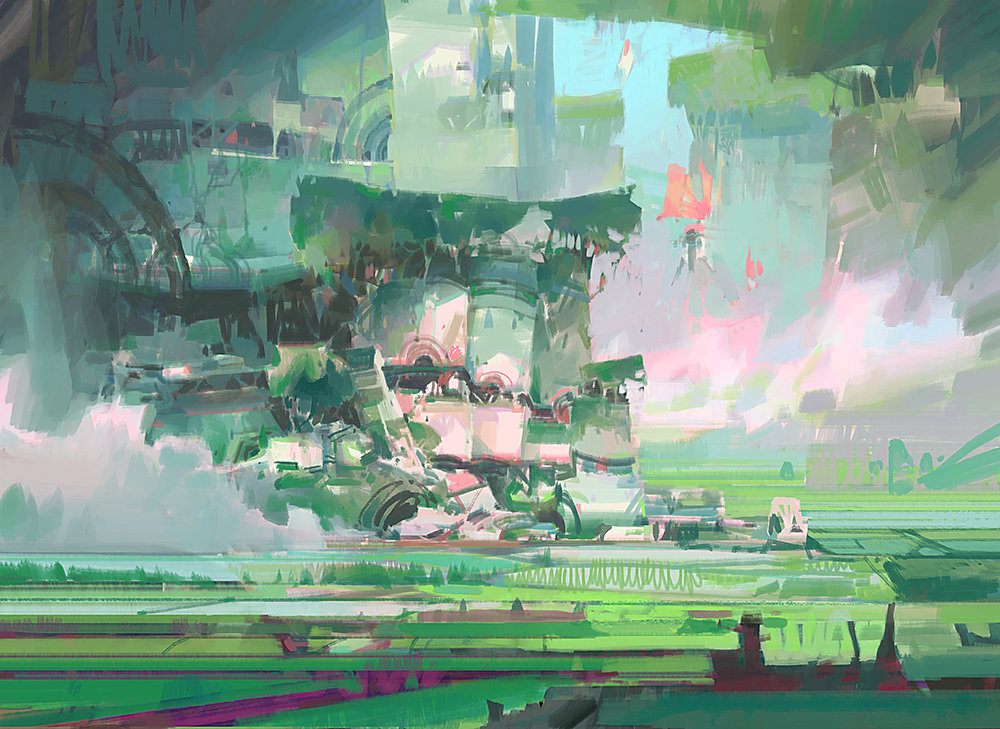theo prins digital painting concept art guild wars 2 Rice Paddy