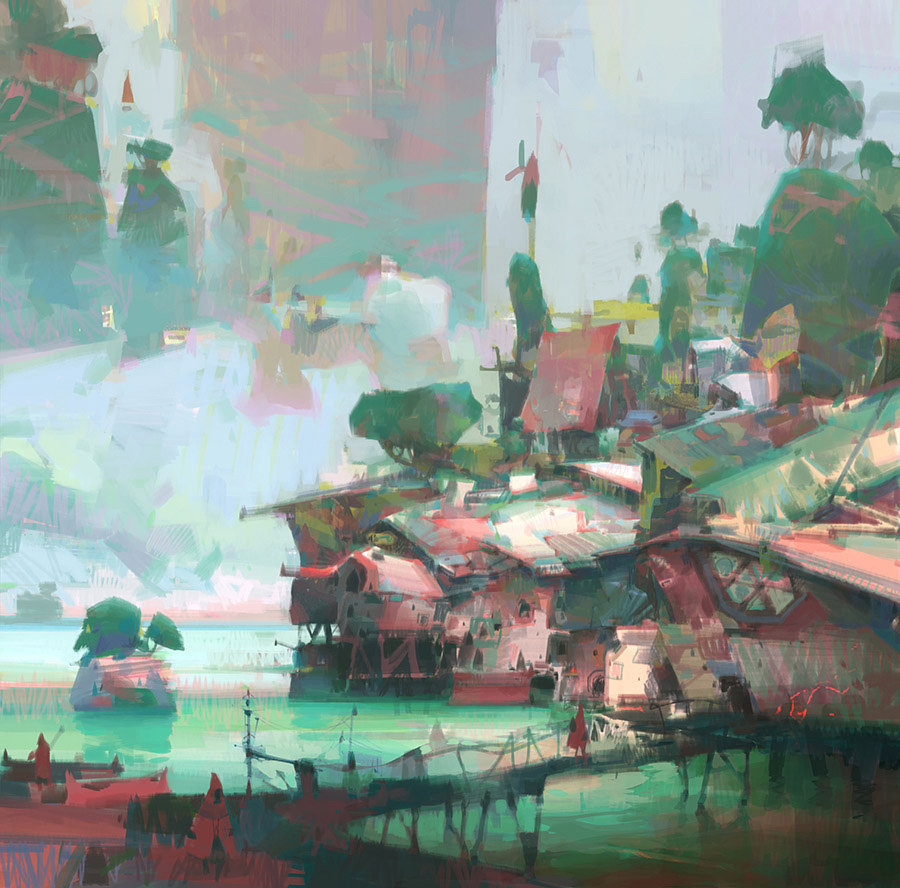 theo prins digital painting concept art Personal work Swamp Village