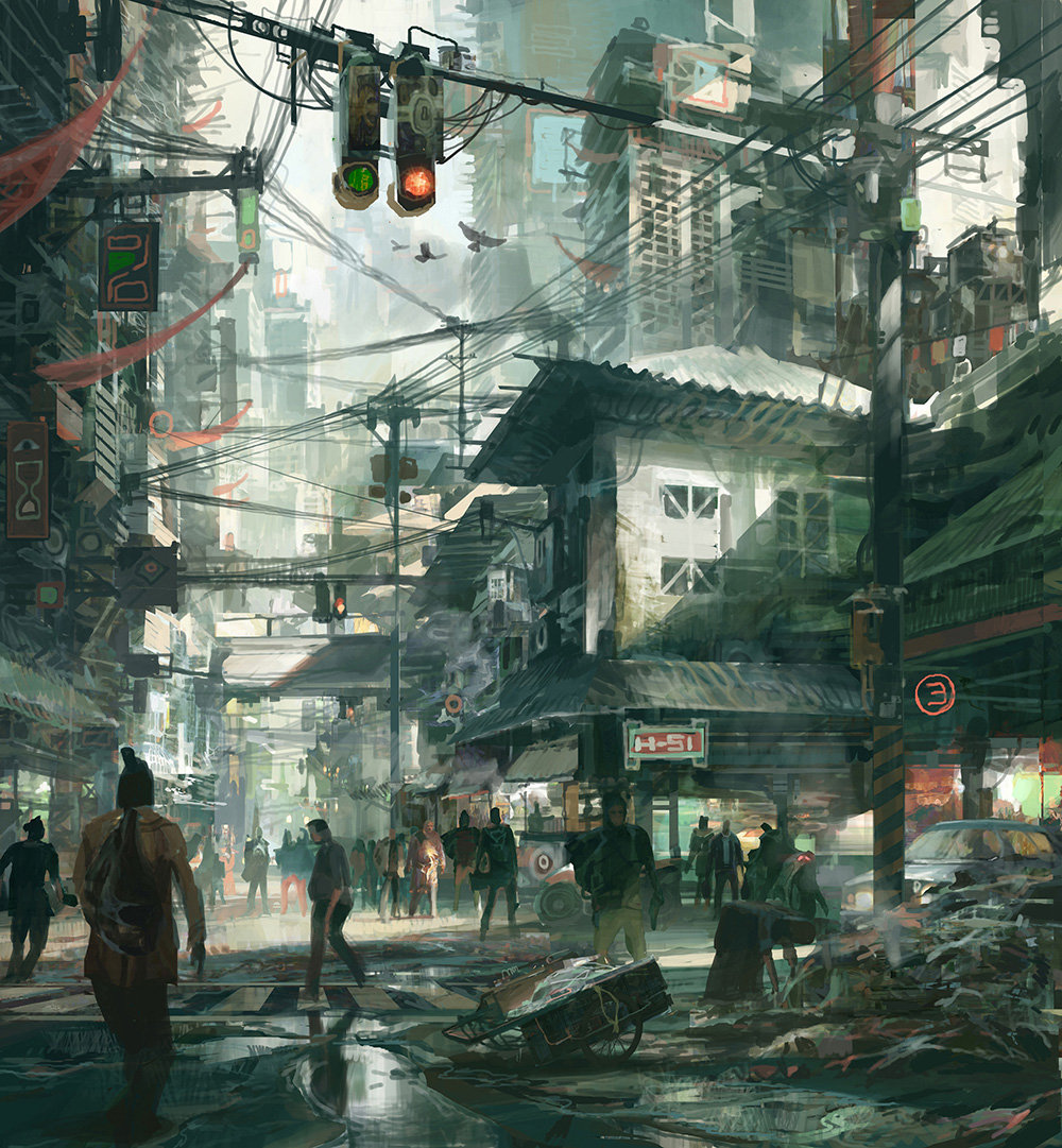 theo prins digital painting concept art Personal work Street scene