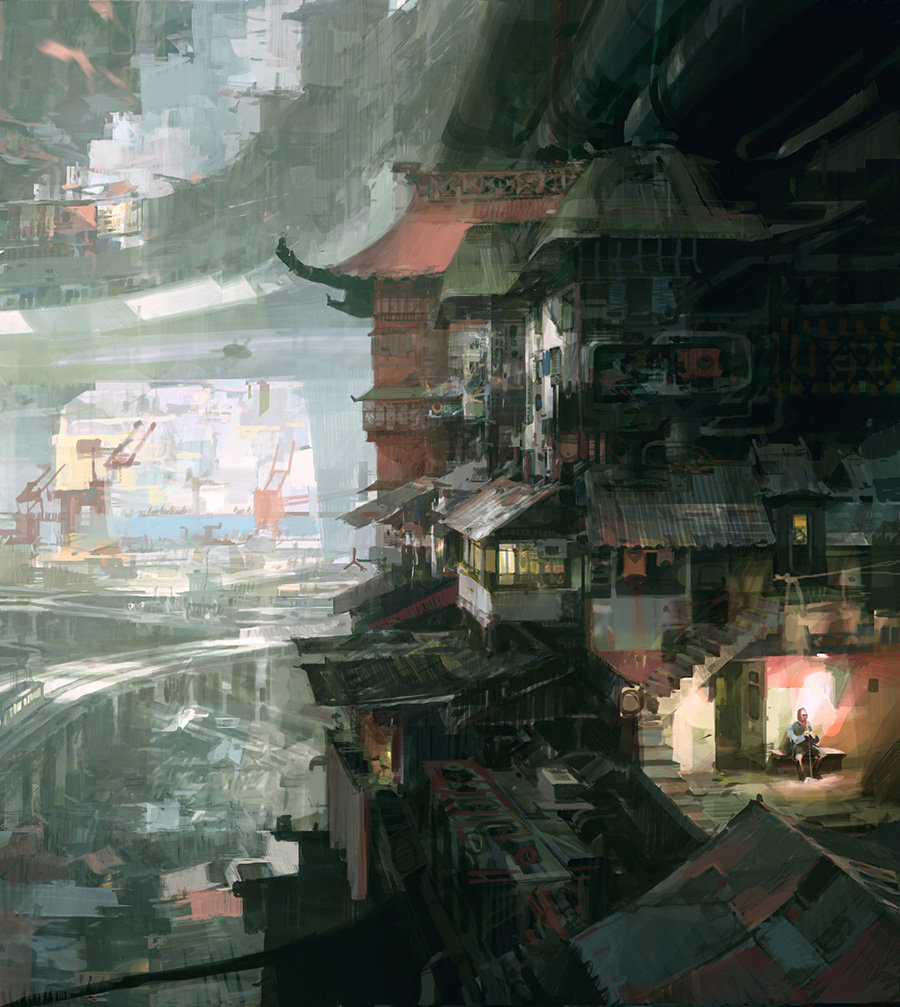 theo prins digital painting concept art Personal work City Scene