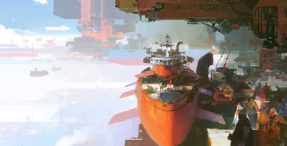 theo prins digital painting concept art Personal work Red tug