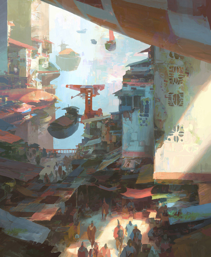 theo prins digital painting concept art Personal work Dock Bazar
